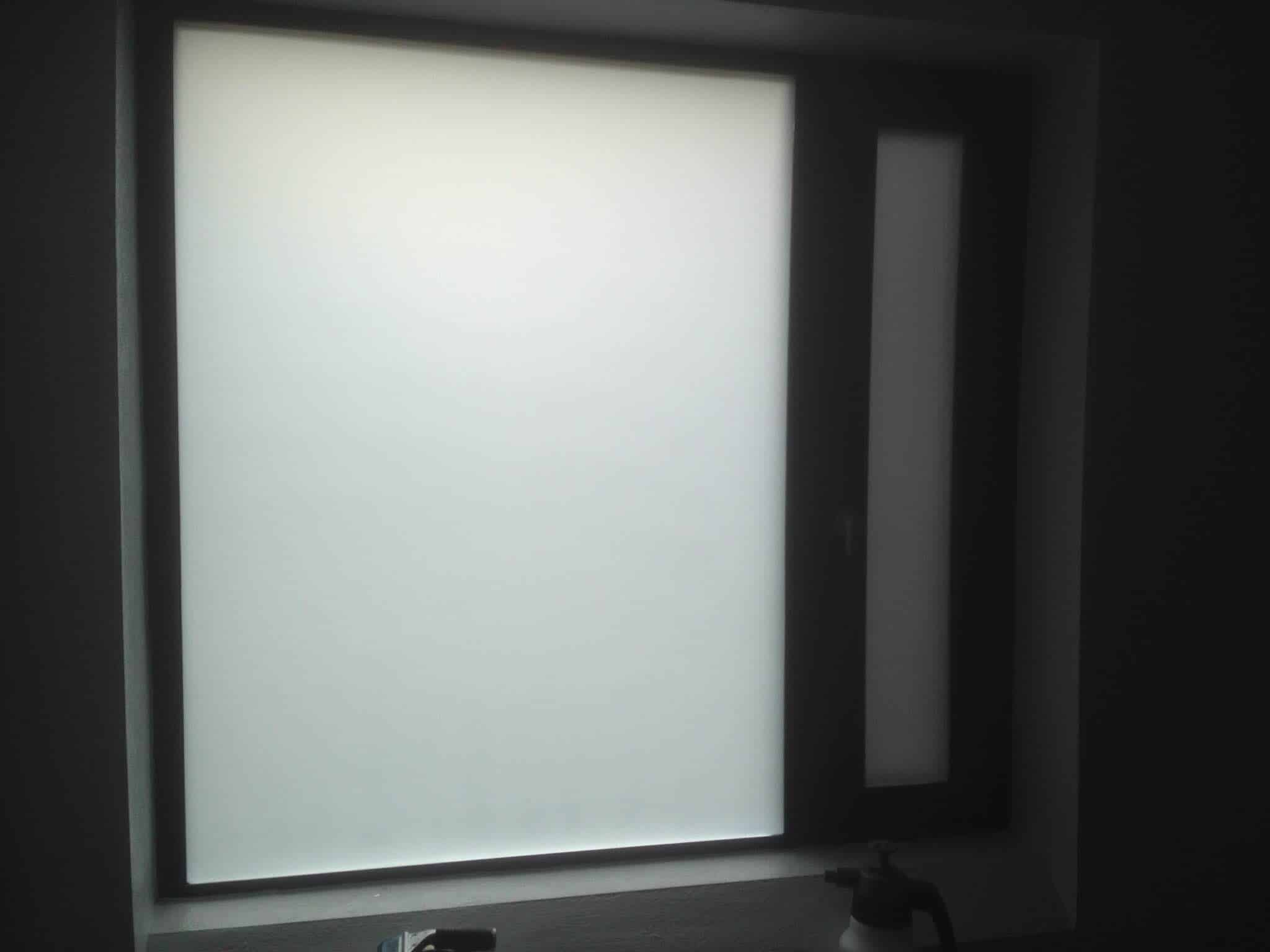 A full frosted window, for use in bathrooms, kitchen areas and places that need full frosting of the glass for full privacy day and night but still letting the light in.